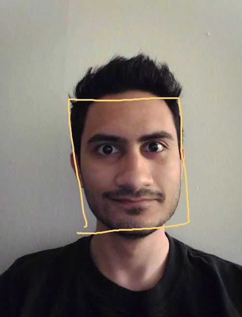 Man with square around face representing face detection