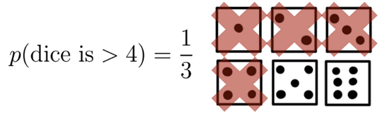 Probability outcome for if dice is greater than 4