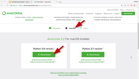 Anaconda website with Mac download selected