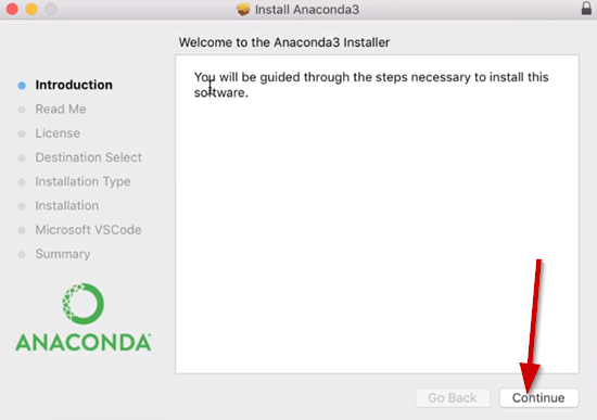 Anaconda3 Installer window on Introduction