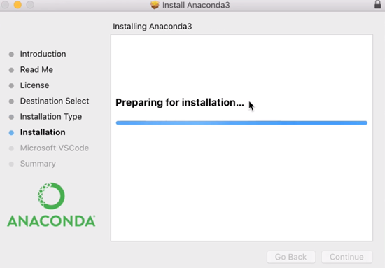 Anaconda3 Install wizard preparing for installation