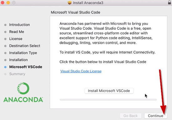 Anaconda installation wizard when skipping Microsoft VSCode