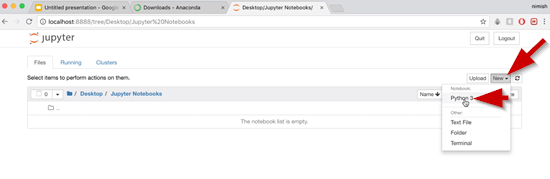 Jupyter Notesbooks New button with Python 3 selected