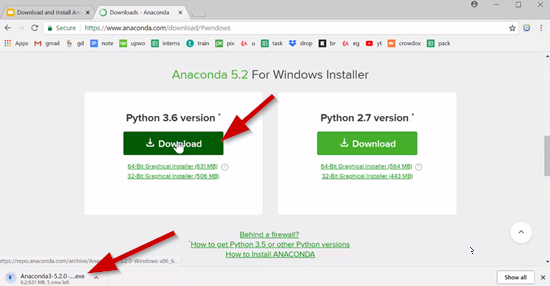 Anaconda website with Windows download selected