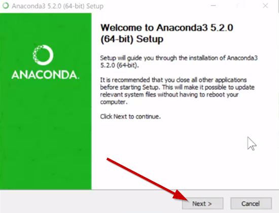 Anaconda 5.2.0 setup screen on Windows