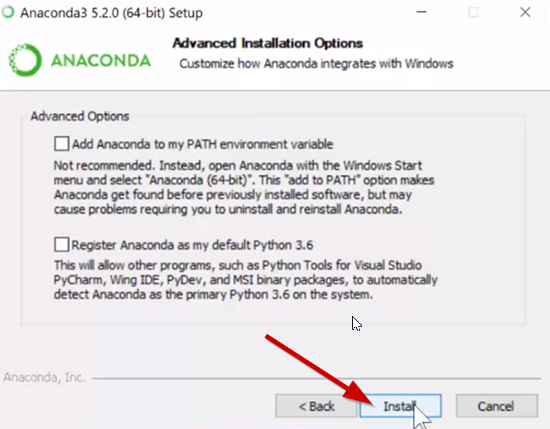 Anaconda advanced options not selected during setup