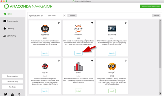 Anaconda Navigator with Jupyter Notebooks selected
