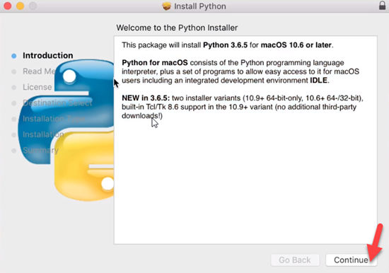 Python Installation Introduction window
