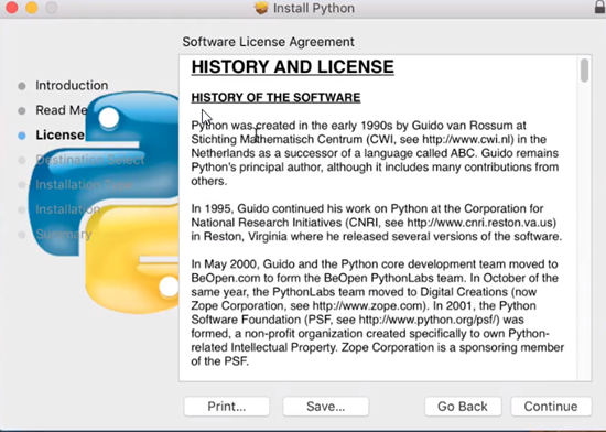 Python installation license agreement