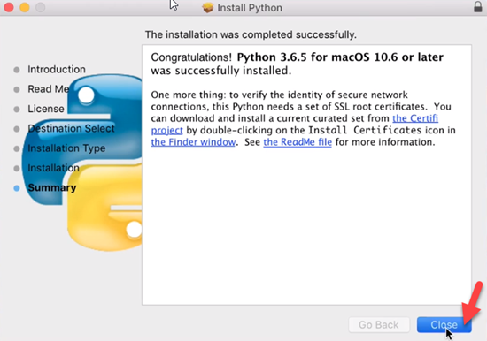 Python Installation Summary screen