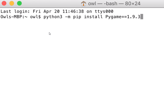 Mac terminal with Pygame installation command