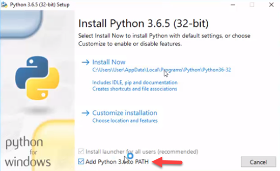 Python windows Installation screen
