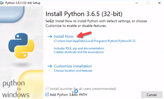 Python installation screen with Install Now pointed to