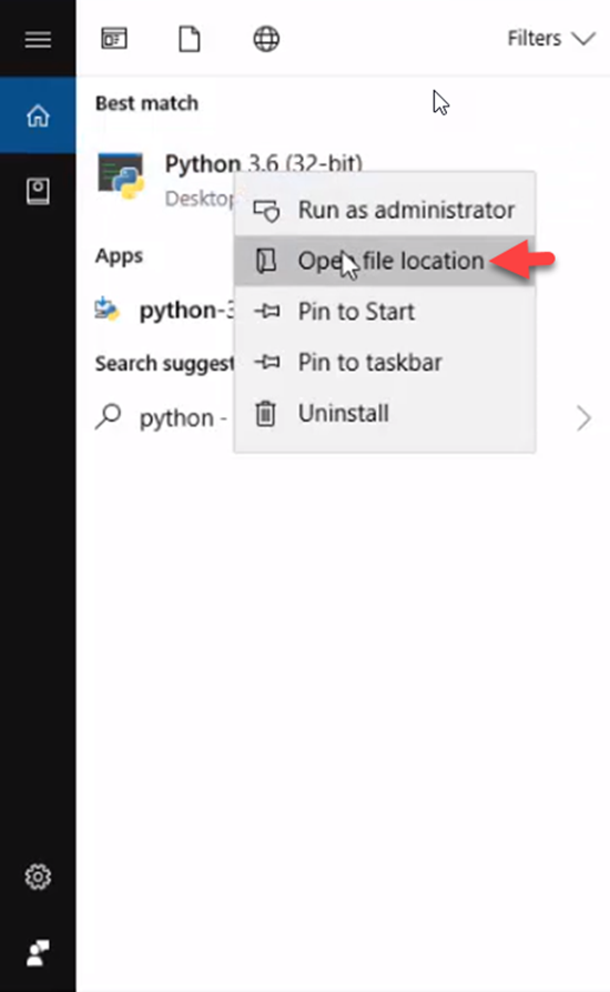 Python app with Open file location selected