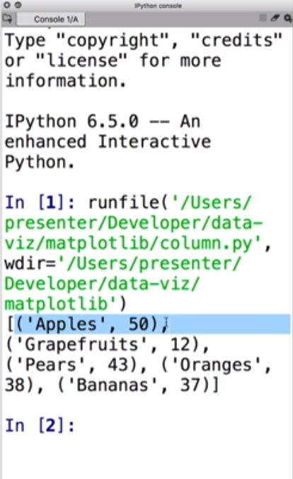 Python code showing fruit data