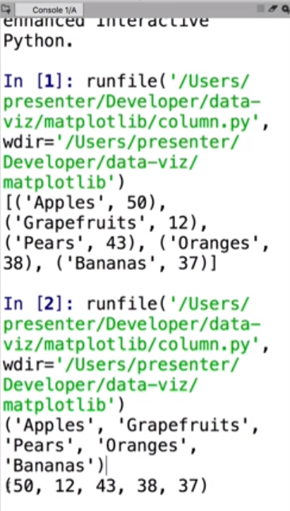 Python code showing 2 sets of fruit data