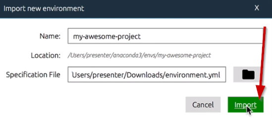 Import new environment window for Anaconda