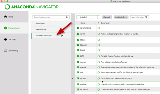 Anaconda Navigator environments window