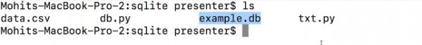 Example.db highlights in Terminal