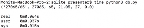 SQLite database query time results