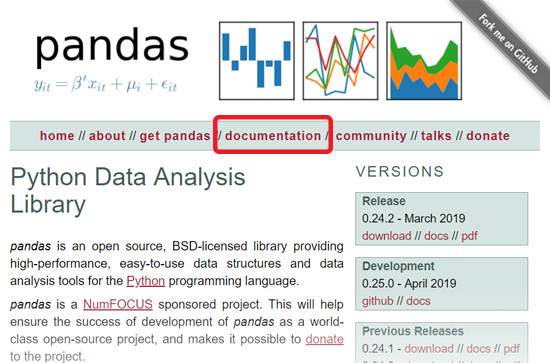 Pandas website with documentation link circled
