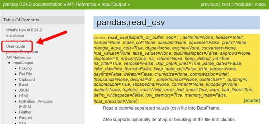 Pandas User Guide link pointed to in Table of Contents