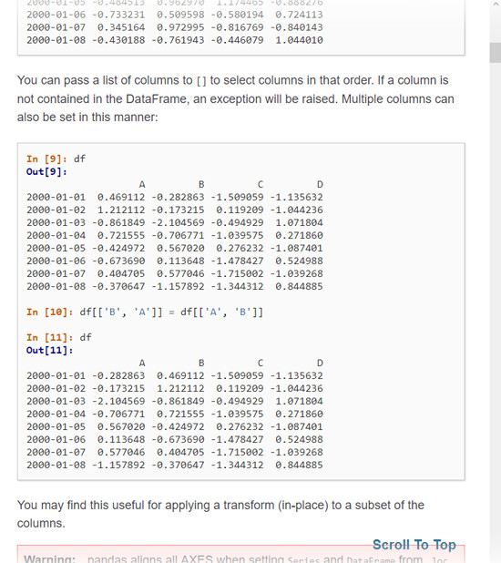 Example of indexing and selecting data in Pandas