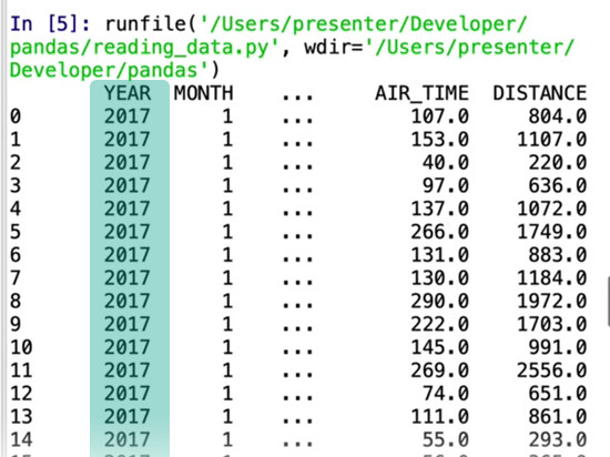 Year column from flight data highlighted in teal