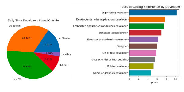 Pie chart and horizontal bar graph about developers